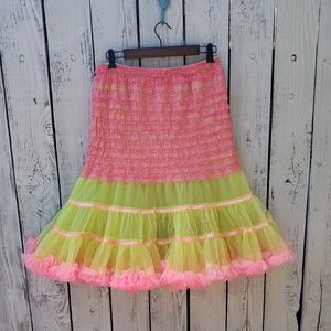 Vintage 80s Hot Pink And Yellow Crinoline Skirt